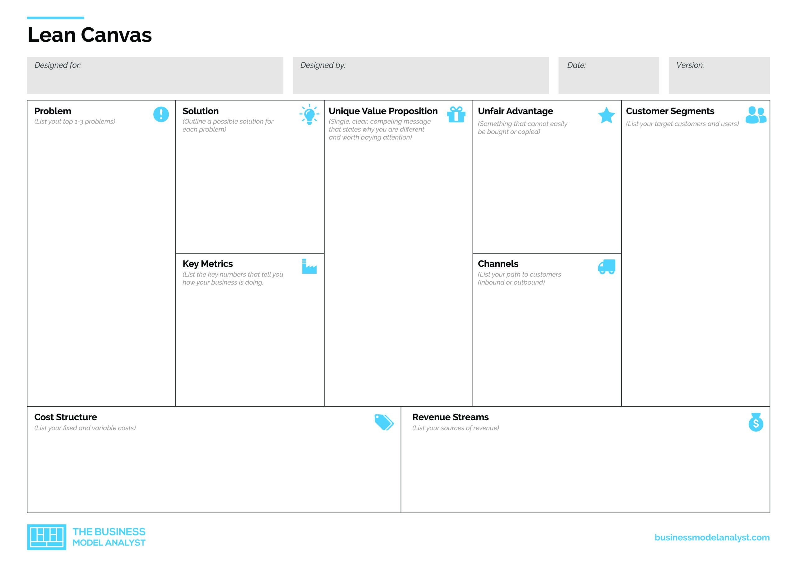 Lean Canvas Template PDF Pertaining To Business Model Canvas Template Word