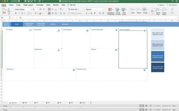 Business Model Canvas SWOT Analysis Assesment Spreadsheet