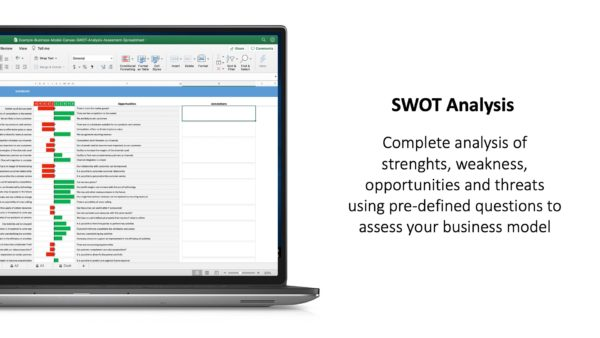 Business Model Canvas SWOT Analysis Assessment Excel Spreadsheet