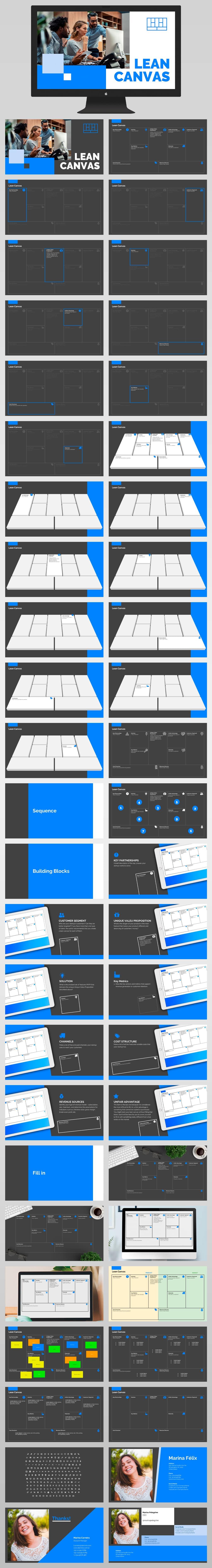 Lean Canvas Presentation Template Powerpoint All Slides Dark