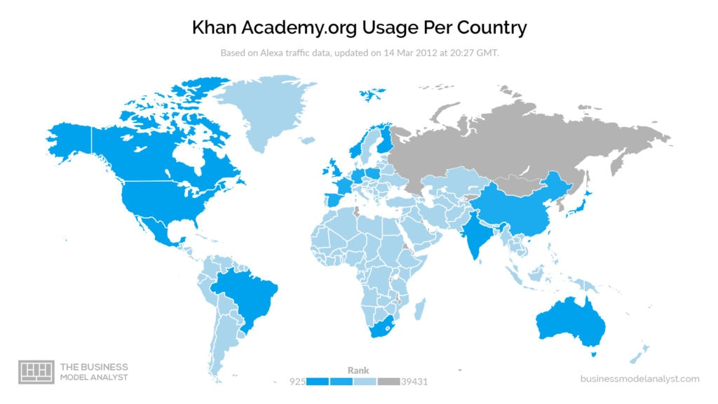 Khan Academy Business Model - Usage per Country